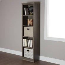 5-Shelf Narrow Bookcase - Gray Maple