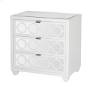 White Lacquer and Mirror 3 Drawer Nightstand. All Drawers On Glides. Product Image