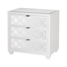 White Lacquer and Mirror 3 Drawer Nightstand. All Drawers On Glides.