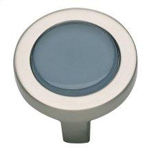 Spa Blue Round Knob 1 1/4 Inch - Brushed Nickel