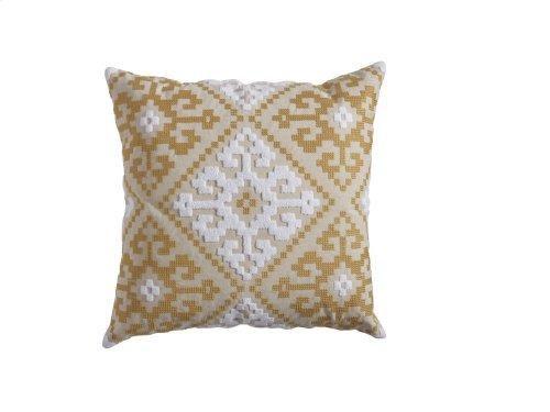 Embroidered Medallion Tile Pillow