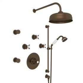 English Bronze Perrin & Rowe Georgian Era Thermostatic Shower Package with Georgian Era Cross Handle