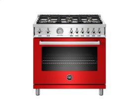 36 inch All Gas Range, 6 Brass Burners Red