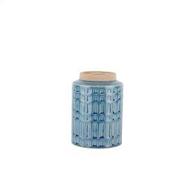 Ceramic Rim Vase, 7', Blue