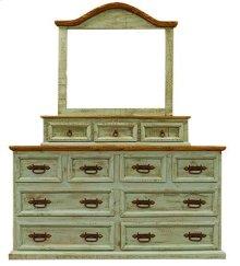 """Mirror : 47"""" x 10"""" x 47"""" Turquoise Washed Dresser & Mirror"""