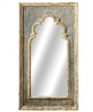 Distressed Blue Arch Wall Mirror with Gold Brush. Product Image