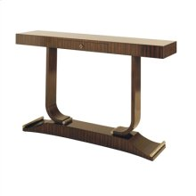 French Polish Ebony Zebrano Veneer Console Table, Brushed Satina Brass Accents