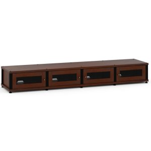 Salamander DesignsSynergy Solution 147, Quad-Width AV Cabinet, Walnut with Black Posts