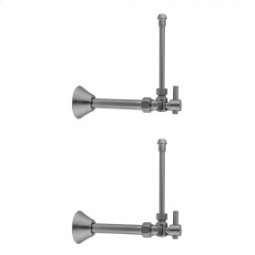 "Polished Nickel - Quarter Turn Angle Pattern 5/8"" O.D. Compression (Fits 1/2"" Copper) x 3/8"" O.D. Faucet Supply Kit Contempo Lever, 20"" Supply Tubes, Cover Tube, Escutcheons"