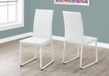 """DINING CHAIR - 2PCS / 38""""H / WHITE LEATHER-LOOK / WHITE"""