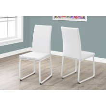 "DINING CHAIR - 2PCS / 38""H / WHITE LEATHER-LOOK / WHITE"
