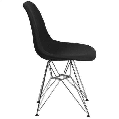 Elon Series Genoa Black Fabric Chair with Chrome Base