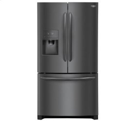 Frigidaire 4pc. Black Stainless Steel kitchen package with 21.7 cu.ft. counter depth dispensing French door fridge and electric convection range