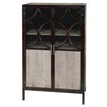 Bradley  28in X 16in X 46in  Doors have wood veneer botttom to conceal storage area while top sect