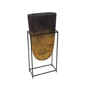 "Glass Vase W/ Iron Stand 23"", Multi"