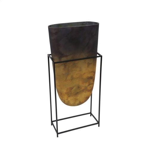 "Glass Vase W/ Iron Stand 23"", Multi"