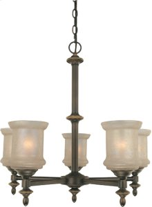 5-lite Ceiling Lamp, Bronze W/glass Shade, Type A 60wx5