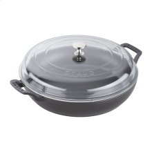 Staub Cast Iron 3.5-qt Braiser with Glass Lid, Black Matte