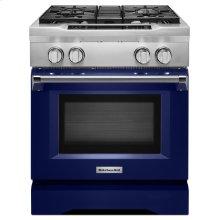 30'' 4-Burner Dual Fuel Freestanding Range, Commercial-Style - Cobalt Blue
