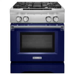 Kitchenaid30'' 4-Burner Dual Fuel Freestanding Range, Commercial-Style - Cobalt Blue