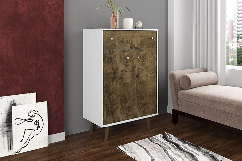 "Liberty 1-Drawer 28.07"" Storage Cabinet in White and Rustic Brown"
