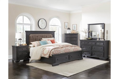 Eastern King Platform Bed with Footboard Drawers