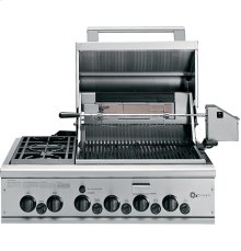"""GE Monogram® 36"""" Outdoor Cooking Center with 2 Grill Burners, 2 Cooktop Burners, Rotisserie, Smoker and Rack (Liquid Propane)"""