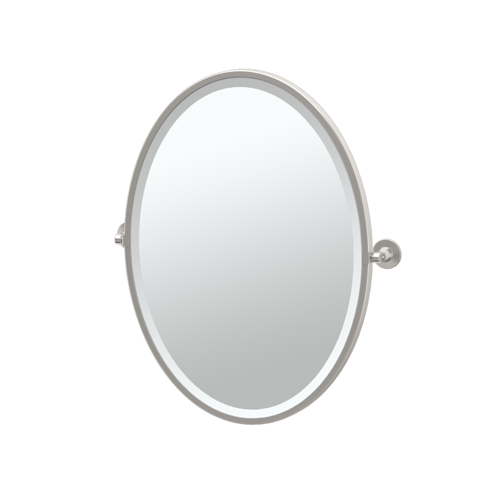 Max Framed Oval Mirror in Satin Nickel