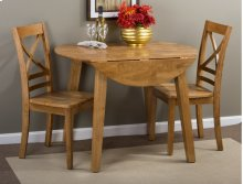 Simplicity Honey Drop Leaf Table With Two X Back Dining Chairs