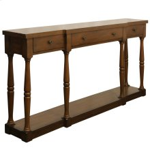 Springfield 3 drawer console table with metal drawer glides and fixed botttom shelf Breakfront desi