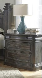 Marble Nightstand - Smokey Oak Finish Product Image