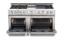 """60"""" six burner gas self-clean range w/ 24"""" Thermo-Griddle"""" + convection oven - LP"""