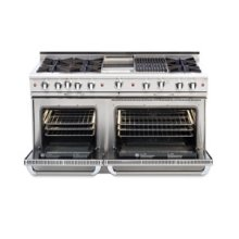 "60"" six burner gas self-clean range w/ 24"" BBQ grill+ convection oven - LP"