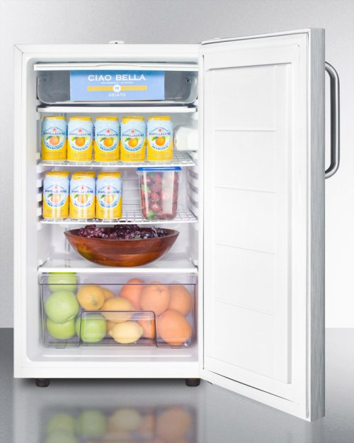 "Commercially Listed 20"" Wide Counter Height Refrigerator-freezer With A Lock, Stainless Steel Door, Towel Bar Handle and White Cabinet"