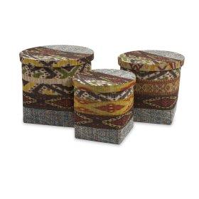 Tymon Waterhyacinth Baskets with Lids - Set of 3