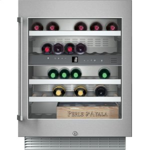"Gaggenau200 series 400 series 24"" under-counter wine storage unit. Under-counter, stainless steel-framed glass door Width 23 5/8"" (60 cm)"