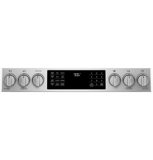 "GE Profile Series 30"" Slide-In Front Control Gas Double Oven Convection Range"
