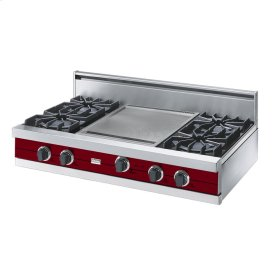 "Apple Red 42"" Open Burner Rangetop - VGRT (42"" wide, four burners 18"" wide griddle/simmer plate)"