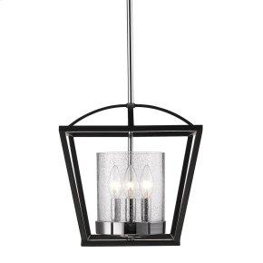 Mercer Semi-Flush in Black with Seeded Glass