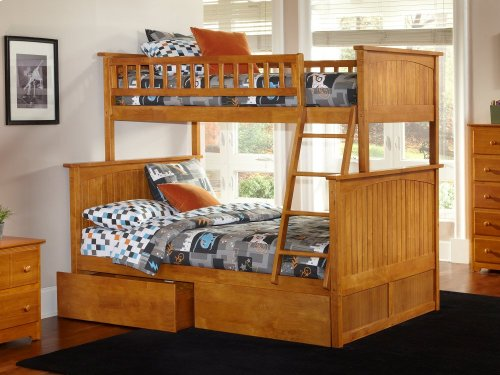 Nantucket Bunk Bed Twin over Full with Urban Bed Drawers in Caramel Latte