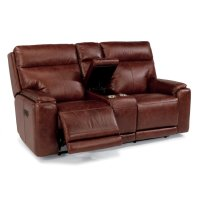 Sienna Leather Power Reclining Loveseat with Console and Power Headrests Product Image