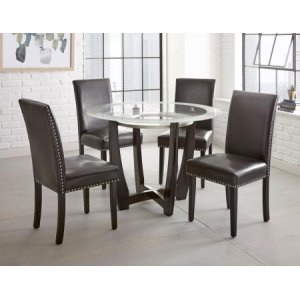 Steve Silver Co.Verano 5 Piece Set(Glass Top Table & 4 Black Side Chairs)