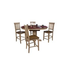 DLU-BR4260CB-B70-PW5PC  5 Piece Round or Oval Butterfly Leaf Pub Table Set with Fancy Slat Stools