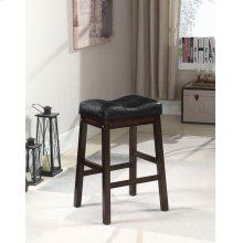 Black and Dark Cherry Upholstered Counter Stool