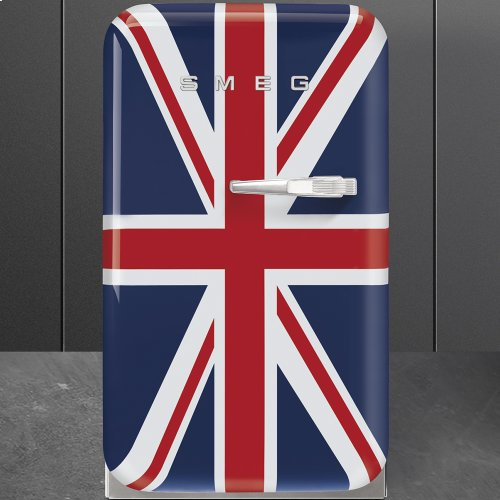 50's Retro Style Mini Refrigerator, Union Jack, Left hand hinge