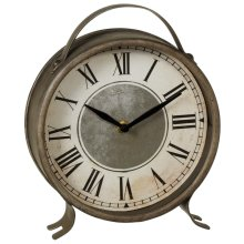 Round Antique Silver Desk Clock.