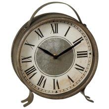Round Antique Silver Desk Clock