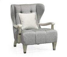 Modern Winged Grey Oak Occasional Chair, Upholstered in COM