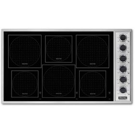 """Stainless Steel/White Glass 36"""" All-Induction Cooktop - VICU (36"""" wide cooktop)"""