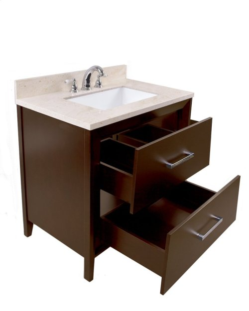 Espresso CANTO 36-in Single-Basin Vanity Cabinet with Crema Marble Stone Top and Muse 20x13 Sink